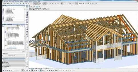 柱子和梁结构,中间地板和屋顶结构的工具